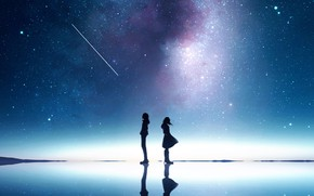 Picture girl, night, guy, the milky way