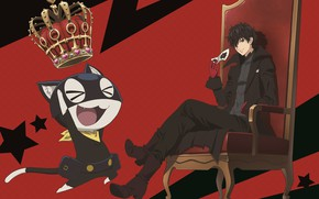 Picture cat, chair, crown, mask, Joker, guy, the throne, Person 5, Persona 5
