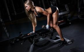 Picture girl, sport, figure, dumbbells