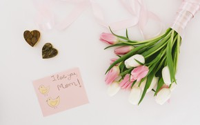 Picture the inscription, bouquet, hearts, tulips, congratulations, postcard, mother's day