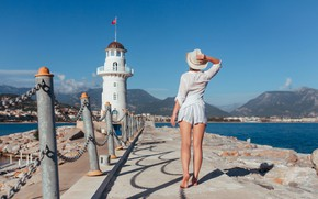 Picture sea, girl, landscape, mountains, pose, shorts, lighthouse, hat, barefoot, the fence, blouse, barefoot, Ruslan Kid