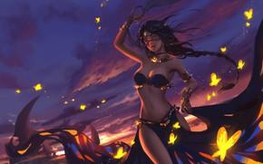 Picture Sunset, Girl, The evening, Figure, East, Girl, Butterfly, Dance, Art, Beautiful, Art, Sunset, Dance, Figure, …