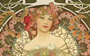 Wallpaper figure, painting, composition, female images, Alphonse Mucha, Alfons Maria Mucha, beauty with flowers