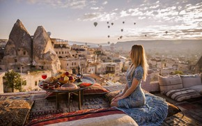 Wallpaper girl, mountains, table, balls, food, pillow, fruit