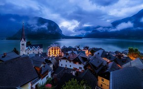 Picture roofs, lights, sunset, twilight, evening, rooftops, houses, sky, clouds, Germany, bell tower, clock, church, lake, …