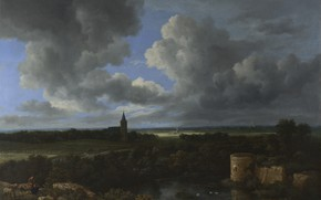 Picture picture, panorama, Jacob van Ruisdael, Jacob van Ruisdael, Landscape with ruined castle and Church