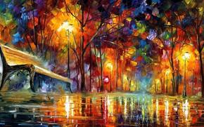 Picture Park, rain, alley, Leonid Afremov, impressionism