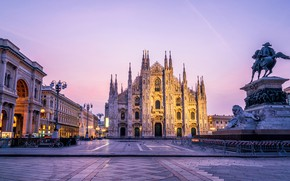Picture Gothic, the evening, Italy, monument, Milan, The Duomo of Milan, The Cathedral Of The Nativity …