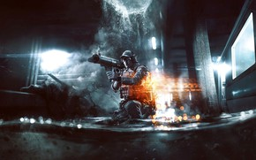 Picture Water, Light, Soldiers, Weapons, Military, Electronic Arts, DICE, Battlefield 4, Video Game