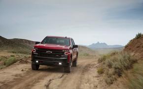 Picture red, hills, Chevrolet, pickup, Silverado, Z71, Trail Boss, 2019, Silverado LT