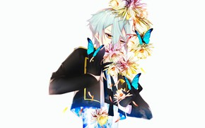 Picture look, flowers, background, anime, art, guy, bangs, Touken Ranbu, Dance Of Swords, hizamaru