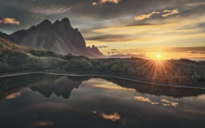 Picture water, the sun, rays, landscape, nature, dawn, mountain, morning, Iceland, Westerhorn