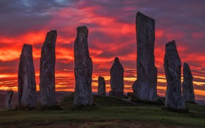 Picture the sky, clouds, sunset, red, stones, Scotland, al, silhouettes, antiquity, history, blocks, dawn, megaliths, ancient, …