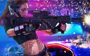 Picture girl, weapons, Asian, Cyberpunk 2077