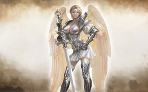 Picture Girl, Blonde, Armor, Angel, Girl, Sword, Warrior, Wings, Heaven, Art, Beautiful, Art, Woman, Warrior, Blonde, …