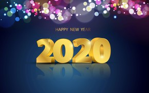 Picture reflection, figures, New year, 2020