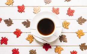 Picture autumn, leaves, background, tree, coffee, colorful, Cup, wood, background, autumn, leaves, cup, coffee, maple