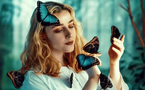 Picture butterfly, nature, pose, background, model, portrait, hands, makeup, piercing, hairstyle, blonde, in white, bokeh, Janusz …