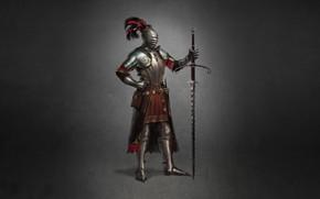 Picture Minimalism, Armor, Sword, Warrior, Art, Art, Warrior, Knight, Minimalism, Sword, Armor, Character, Max Yenin, 1550, …