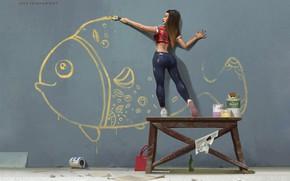Picture Girl, Figure, Paint, Fish, Art, Art, Repair, Nikolai Litvinenko, One summer day, by Nikolai Litvinenko, …