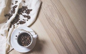 Picture coffee, wood, coffee beans, coffee