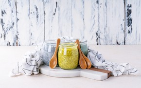 Picture Breakfast, jars, pudding, Chia