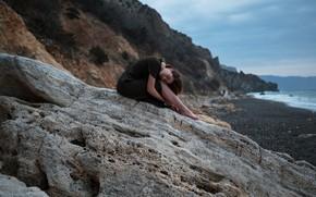 Picture sea, girl, nature, pose, rocks, shore, the evening, Aleks Five