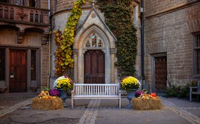 Picture photo, Design, The city, Germany, Bench, Castle, The door, Hohenzollern castle