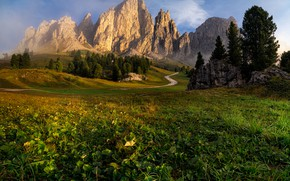 Picture road, mountains, fog, morning, Italy, meadows, South Tyrol, The Dolomites, Val Gardena