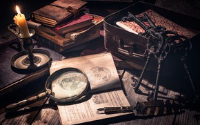 Picture pen, candle, book, still life, keys, magnifier