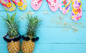 Picture sand, summer, stay, glasses, shell, summer, pineapple, beach, vacation, wood, sand, pineapple, slates, tropical, sunglasses, …
