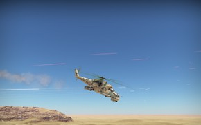 Picture Desert, Helicopter, Mi-24, War thunder, Tracers