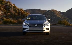Picture mountains, Volkswagen, sedan, front view, Passat, 2020, 2019, US Version