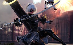 Picture look, girl, sword, robots, cyborg, Nier Automata, YoRHa No 2 Type B