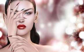 Picture girl, face, rendering, nails