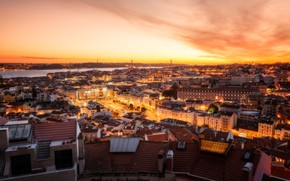 Picture sunset, river, building, home, panorama, Portugal, night city, Lisbon, Portugal, Lisbon, Tagus River, River Tahu