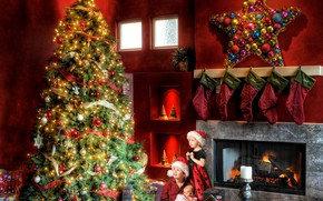 Picture children, room, toys, tree, New year, fireplace, garland