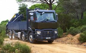 Picture road, vegetation, dust, truck, Renault, body, four-axle, CMU, Renault Trucks, C-series