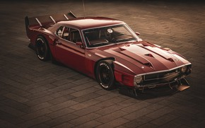 Picture Ford, Shelby, GT500, Red, Retro, Machine, 1969, Car, Car, Render, Muscle car, Cherry blossom, Bordeaux, …