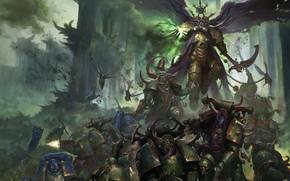 Picture demon, chaos, war, space marines, battle, Ultramarines, Warhammer 40 000, Death Guard, plague, Nurgle, primarch, …