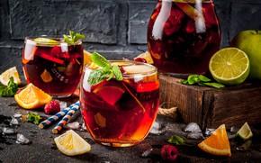 Picture orange, Apple, Ice, lime, glasses, citrus, drink, pitcher, sangria
