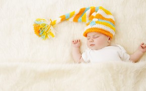Picture child, baby, sleeping, fur, cap