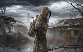 Picture The game, The concept, Style, Clouds, Radiation, Gas mask, Weapons, Stalker, Stalker, Chernobyl, Pripyat, Machine, …