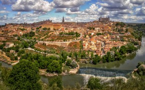 Picture Spain, panorama, river, building, Toledo