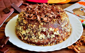 Picture chocolate, cake, nuts