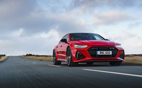 Picture road, asphalt, Audi, markup, RS 7, 2020, UK version, RS7 Sportback