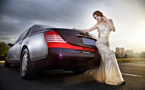 Picture auto, look, Girls, dress, Asian, beautiful girl, posing on the car, Mercedes-maybach