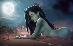 Picture Beach, Girl, Night, The city, The moon, People, Mermaid, Large, Beauty, Fiction, Walk, Meeting, by …