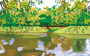 Picture lake, branch, vector, the bridge, duck, digital painting