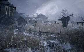 Picture winter, home, icicles, Resident Evil, Scarecrow, gardens, Resident Evil 8: Village